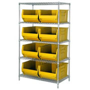 "Chrome Wire Shelving with 24""D, 30""D & 36""D Jumbo Bins"