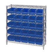 "Chrom Wire Shelving with 4"" H Self Bins"
