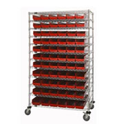 "Wide Chrome Wire Shelving with 4""H Self Bins"